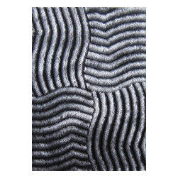 Rug - ~5 ft. x 7 ft. 3-D Silver Grey Shaggy Living Room Shaggy Hand-tufted Area Rug - 3D SHAG COLLECTION