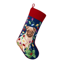 "Peking Handicraft - Pug Needle Point Stocking - With its charming vintage design and intricate needle point quality, our adorable pet stockings are ready to fill with toys and treats for your best friends! This well made stocking features a plush velveteen color coordinated back and is meant to last for years! Indeed Decor will donate 20% of profits to animal rescue charities. Dry Clean Only. 11"" x 18""."
