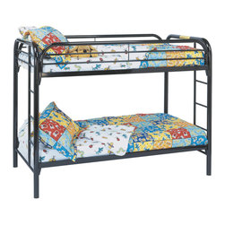 Monarch Specialties - Monarch Specialties I 2230K Black Metal Twin / Twin Bunk Bed - The fun space saving design of this black metal twin bunk bed will make a wonderful addition to your child's bedroom. Convenient built in ladders on each side lead up to the top bunk which is surrounded with full length guard rails for extra piece of mind. Perfect for kids sharing a room or for the child with frequent slumber parties! Bunk Bed (1)