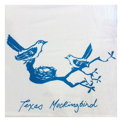"Kimball Prints - Texas Mockingbird Tea Towel - This Tea Towel is perfect to brighten your kitchen or bath! It also makes an elegant hostess gift for your favorite wildflower lover, Texan or Texan-at-heart.   This design began as a watercolor sketch which was then screen printed by hand on each tea towel in a deep coral ink.   soft, functional + absorbent | 22"" x 38"" inches.   non toxic inks 