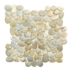 Indo Tile - Natural Finish Cloudey White Pebble Tile - Natural Finish Cloudey White pebble tile, 100% natural Asian pebbles are assembled on interlocking mesh pattern for a seamless designer finish. A very unique white pebble  with distinctive gray and amber variegation. The pebbles or ancient river rocks are sorted for color size and thickness ensuring the best gauge of pebbles for a uniform height and color pallet. The pebbles are then carefully reviewed again, hand selected then puzzled into a patented interlocking mesh pattern. The result is a premium pebble tile with superior consistency and quality. Each tile assembly is on a sturdy nylon mesh backing using an environmentally safe glue. The patented interlocking pattern is designed so the pebble tiles fit together seamlessly when installed.  The final installed result is a seamless field of pebbles with no detectable tile pattern.