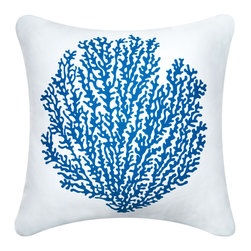 Coral Modern Eco Coastal Throw Pillows, Sapphire/Shell White - Decorative throw pillows hand printed with a sea fan coral silhouette. The Sea Fan modern pillows in crisp sapphire sea and white is a classic accent for coastal living. Designed, hand printed, and fabricated in America.