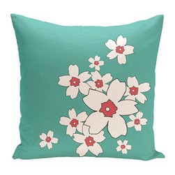 e by design - Floral Jade 18-Inch Cotton Decorative Pillow - - Decorate and personalize your home with coastal cotton pillows that embody color and style from e by design  - Fill Material: Synthetic down  - Closure: Concealed Zipper  - Care Instructions: Spot clean recommended  - Made in USA e by design - CPO-NR6-Jade-18