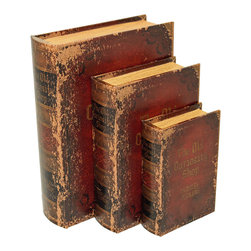 ecWorld - 3-Piece Wood & Leather Book Safe Set - The Old Curiosity Shop by Charles Dickens - Hide your valuables in plain sight with this 3 piece book safe set. Designed to look aged and worn, this set leather bound wooden book set is fully lined with a magnetic seal.