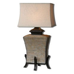 Uttermost - Aged Concrete Segura Table Lamp With Square Shade - Aged Concrete Segura Table Lamp With Square Shade