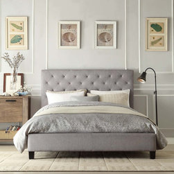 None - Sophie Grey Queen Platform Bed - This elegant platform bed features a button-tufted headboard and durable linen upholstery. This queen-sized bed has small black wooden legs to raise it off the floor.