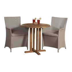 Westminster Teak Furniture - Apollo 3pc Premium Wicker Bistro Set - The Apollo Bistro Teak Dining Set consists of 1 Teak Round Bistro Table complemented with 2 Taupe Apollo Armchairs.