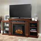 Real Flame - Real Flame Ashley Ent Center Electric Fireplace in Dark Espresso - Real Flame - Fireplaces - 7720EDE - Based on a best selling favorite the Ashley Entertainment Mantel features ample storage thanks to a drop down centerglass door and dual side cabinets. Capable of safely supporting a television of 100 lbs. or less while adjustable shelvingaccommodate most electronics and other objects. The Vivid Flame Electric Firebox plugs into any standard outlet forconvenient set up. The features include remote control programmable thermostat timer function brightness settings and ultra bright Vivid Flame LED technology. Available in Dark Walnut and Dark Espresso finishes.
