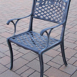 Oakland Living - Tea Rose Patio Dining Chair - Lightweight. Fade, chip and crack resistant. Brass hardware. Warranty: One year. Made from rust free cast aluminum. Hardened powder coat finish in verdi grey. Minimal assembly required. 22.5 in. W x 22 in. D x 35 in. H (23 lbs.)This arm chair will be a beautiful addition to your patio, balcony or outdoor entertainment area. Our arm chairs are perfect for any small space, or to accent a larger space.
