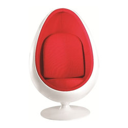 Fine Mod Imports - Easter Fiberglass Accent Chair in White/Red - Features: