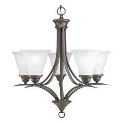 """Progress Lighting - Progress Lighting P4328-20 Chandelier - Antique Bronze - Gracefully exotic, the Trinity collection offers classic sophistication for transitional interiors. With or without etched glass shades, sweeping, minimalist forms are enhanced by Brushed Nickel, Polished Brass, Antique Bronze or Cobblestone finishes. Shades feature slight banding, which corresponds to the subtle detailing of the fixtures. This product from Progress Lighting is available in antique bronze. It is available with etched glass. Illuminated by five 100-watt frosted incandescent bulbs. Part of the Trinity collection. Etched glass shades. Oval tubing with pinched ends for enhanced design. Brushed Nickel is plated, Antique Bronze is hand painted. Solid steel construction. Overall Height with Chain: 99"""". Includes 6' of 9-gauge chain. Includes 15' of wire. Ceiling chain mounted. Canopy covers a standard 4"""" hexagonal outlet box. Glass shades secured by threaded socket rings. Width: 23"""". Height to chain: 24"""". Overall Height: 99""""."""