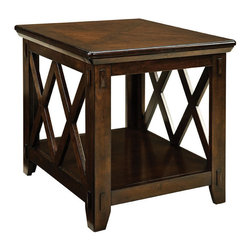 Standard Furniture - Standard Furniture Sonoma End Table in Dark Tobacco - Design elements include exposed tenon joinery, chamfered undertop moldings, square legs with chamfered feet and a double X-motif lattice on table ends.
