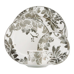 Lenox - Lenox Silver Applique 5-Piece Dinnerware Place Setting - This uniquely-styled Lenox Silver Applique dinnerware design,with its burnished platinum floral motif,brings heirloom quality to your table.