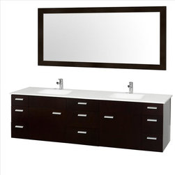 """Wyndham Collection - Wyndham Encore Vanity Espresso Sink - Featured in the CG Collection by Christopher Grubb, the Encore 78"""" Double Bathroom Vanity combines clean"""