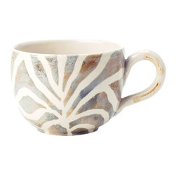 Vietri - Safari Jumbo Cup - Handmade of terra bianca in Tuscany. Dishwasher Safe.