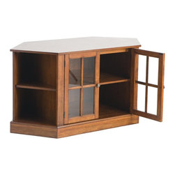 "Holly & Martin - Holly & Martin Parkridge Corner Media Stand-Walnut X-93-6-550-091-36 - Traditional styling with modern convenience, this corner media stand is finished with a beautiful walnut stain and faced with lovely windowpane doors. Capable of holding up to a 42"" TV, this corner media stand is ideal for any room. The spacious center storage area is complete with one adjustable shelf and cord management behind the stylish glass doors. On either side sits a corner shelf for storing media, books, or decoration in an open display style.     - 46"" W x 22.25"" D x 24"" H                                                                              - Center cabinet: 24"" W x 20"" D x 20"" H                                                                 - Triangular side storage: 12.5"" W x 12"" D x 20"" H                                                      - One adjustable shelf in each storage area                                                             - Walnut finish w/ distressed wood characteristics                                                      - Large center storage area w/ adjustable shelf and windowpane doors                                    - Open side storage for media organization                                                              - Accommodates up to a 42"" TV                                                                           - Pewter hardware                                                                                       - Assembly required"