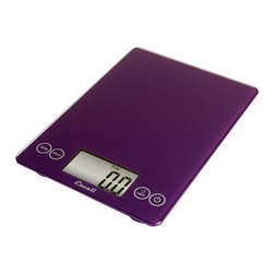 Escali Art Glass Digital Scale - Purple - The Escali Arti Scale - the new standard in kitchen scales. Capable of weighing liquid and dry ingredients up to an astounding 15 lbs with an accuracy of 0.1 ounces or 1 gram. The Arti's list of features is long and loaded with value. Its crisp and clear display which is 50% larger than commonly found on a kitchen scale sits between the user friendly touch sensitive controls and results in a single smooth glass surface that is not only beautiful but incredibly functional.