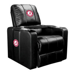 Dreamseat Inc. - University of Alabama NCAA Crimson Tide Home Theater Plus Leather Recliner - Check out this Awesome Leather Recliner. Quite simply, it's one of the coolest things we've ever seen. This is unbelievably comfortable - once you're in it, you won't want to get up. Features a zip-in-zip-out logo panel embroidered with 70,000 stitches. Converts from a solid color to custom-logo furniture in seconds - perfect for a shared or multi-purpose room. Root for several teams? Simply swap the panels out when the seasons change. This is a true statement piece that is perfect for your Man Cave, Game Room, basement or garage. It combines contemporary design with the ultimate comfort from a fully reclining frame with lumbar and full leg support.