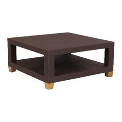Ciera Wicker Square Coffee Table - This square Ciera wicker coffee table is a smaller version of the Ciera rectangle coffee table. Made from specially formulated woven wicker and teak over a powder coated aluminum frame, this coffee table is weather resistant in any environment. Use this piece to compliment other outdoor wicker tables, or let it stand alone. Conveniently containing two shelves, the table is perfect for holding drinks, magazines, or a centerpiece. Mix and
