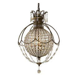 """Murray Feiss - Murray Feiss MRF-F2504-3OBZ-BRB Bellini Traditional Pendant Light - The Bellini Collection is inspired by early 19th Century European regency and Neo Classical empire crystal chandeliers. Its uniquely shaped rectangular crystals, faceted trim, and sculpted bobeches come together to create these sparkling pieces. Clear crystal and plated """"Antique Quartz"""" crystals combine to make this collection truly unique."""
