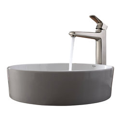Kraus - Kraus White Round Ceramic Sink and Virtus Faucet Brushed Nickel - *Add a touch of elegance to your bathroom with a ceramic sink combo from Kraus