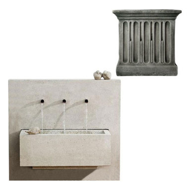 Campania International - X-3 Fountain- Alpine Stone (AS) - The X3 Fountain (FT-123) from Campania International is a great modern trough fountain. The three spigots give a pleasant cascading water sound. The bird statuary is not attached to the fountain but is included. Made of cast stone. Pump included. 504 lbs. Main picture shows Greystone (GS)