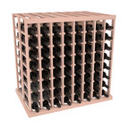 Double Deep Tasting Table Wine Rack Kit in Redwood with White Wash Stain - The quintessential wine cellar island; this wooden wine rack is a perfect way to create discrete wine storage in open floor space. With an emphasis on customization, install LEDs or add a culinary grade Butcher's Block top to create intimate wine tasting settings. We build this rack to our industry leading standards and your satisfaction is guaranteed.