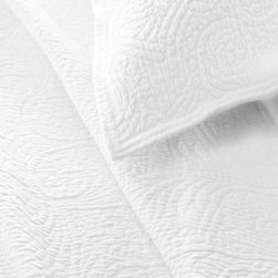 Pine Cone Hill - elizabeth matelasse coverlet (white) - The elegance of quilted floral and scroll designs on a no-fuss cotton matelasse coverlet.��This item comes in��white.��This item size is��various sizes.