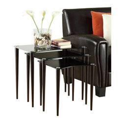 Monarch Specialties - Monarch Specialties Nesting Tables (Set of 3) - With a rectangular top wrapped in a black tempered glass making for a beautiful and contemporary look, this three piece nesting table set is the perfect unit for any decor. With a deep cappuccino finish, pin thin shaker legs, and silver accents, use these pieces as end tables, lamp tables, decorative display tables, or simply accent pieces. What's included: Nesting Tables (3).