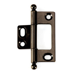 BH2A-NM-AB-BALL solid brass inset cabinet hinge - Cliffside's non-mortising cabinet hinges are available in several styles. Each hinge leaf is made with superior craftsmanship, extruded from a single piece of solid brass for added durability. The decorative barrel of the hinge shows on the outside of the door, which adds a splash of color to your cabinet door. This 2-inch hinge is finished in dark Antique Brass, one of 15 available colors, and features our ball-tip finial.
