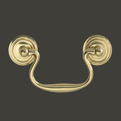 Cabinet Pulls Bright Solid Brass Classic Brass Bail Cabinet Pull ...