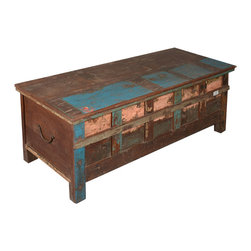 Sierra Living Concepts - Rustic Reclaimed Wood Paint Patch Storage Trunk Chest - The old chest in the attic was always filled with hidden surprises. Our Paint Patch Standing Chest brings home that nostalgic charm with an authentic antique quality.
