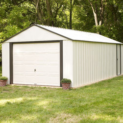 Arrow Sheds - Arrow Vinyl Murryhill 14 x 21-foot Storage Building - This storage building features electro galvanized and vinyl coated steel for increased corrosion resistance. A roll-up door and reinforced steel truss roof add to the practicality of this building.