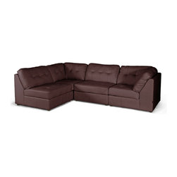 "Baxton Studio - Baxton Studio WARREN Brown Leather Modern Modular Sectional Sofa - The merits of our Warren Modern Sectional are threefold: a modular design, supple cushioning, and easy-to-clean brown bonded leather. Without question, this is one of the most comfortable bonded leather designer sofas we have come across: the foam cushioning is yielding and has a true ""plop"" factor as you sit down. Each of the four pieces included with this set can be repositioned as desired and may even be used in different parts of the room (or in different rooms altogether)! Included with purchase are two armless sections and two corner/one arm sections. The contemporary sectional is built on a wooden frame and includes black wood legs with non-marking feet. The Warren Living Room Sectional should be wiped clean with a solvent of mild detergent and water. Minor assembly is required."