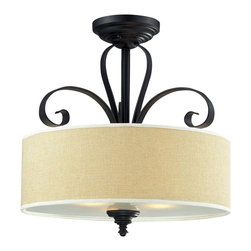 Three Light Burlap Shade Creme/Matte Back Drum Shade Semi-Flush Mount - A burlap shade and bold matte black hardware create a modernly styled fixture, with plenty of traditional charm. This semi flush mount is truly the best of both the modern and traditionally styles of lighting decor.