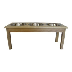 3 Bowl Traditional Style Diner Large Natural - 3 Bowl Traditional Style Diner Large Natural Completely assembled.-Each bowl holds 2 quarts. Includes: -Includes stainless steel, dishwasher safe bowls Large Dimensions: 12'' H x 11'' W x 29'' D.