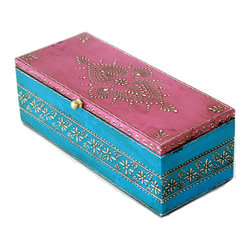 "MarktSq - Rectangular Wooden Hand Painted Jewelry Box in Pink and Blue - 9.75"" Length - This box is 9.75"" in length and ideal for storing watches, bracelets etc. This will help you organize all your precious items and will look gorgeous on your dresser top. Approximate dimensions: L 9.75"" x W 3.8"" x H 3.25""."