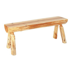 Fireside Lodge Furniture - Northern White Cedar Log Bench (48 in. W) - Choose Size: 48 in. WCedar Collection. Northern White Cedar logs are hand peeled to accentuate their natural character and beauty. Clear coat catalyzed lacquer finish for extra durability. 2-Year limited warranty. 36 in. W x 12 in. D x 18 in. H (30 lbs.). 42 in. W x 12 in. D x 18 in. H (35 lbs.). 48 in. W x 12 in. D x 18 in. H (40 lbs.). 60 in. W x 12 in. D x 18 in. H (50 lbs.). 72 in. W x 12 in. D x 18 in. H (60 lbs.)