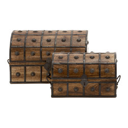 Treasure Trove Wood Metal Box Set Of 2 - Features:
