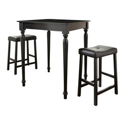 Crosley - 3-Piece Pub Dining Set with Turned Leg and Upholstered Saddle Stools in Black - Constructed of solid hardwood and wood veneers, the 3 piece Pub / High Dining set is built to last. Whether you are looking for dining for two, or just a great addition to the basement or bar area, this set is sure to add a touch of style to any area of your home.
