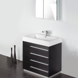 "Fresca - Fresca Livello 30"" Black Modern Bathroom Vanity W /Faucet & Medicine Cabinet - At a width of 29"" and a height of 33.5"", the Fresca Livello bathroom vanity is perfect for smaller spaces. With a minimalistic and contemporary design, this vanity will make your bathroom feel like a modern oasis. Complete with four, slow closing 18.63"" deep pull out drawers the Fresca Livello bathroom vanity offers ample storage for all of your washroom necessities. The 29"" wide x 26"" high x 5"" deep medicine cabinet provides additional storage while enhancing the aesthetics offered by this contemporary vanity. The Fresca Livello comes with a durable acrylic sink that is less likely to break then traditional ceramic options. These bathroom sinks also clean better, making them ideal for homes with smaller children.Items included: Vanity, Medicine Cabinet, Sink, Faucet, P-Trap and Pop-Up Drain, Standard hardware needed for installation.DecorPlanet is proud to offer Fresca Bathroom products. Fresca is a leading manufacturer of high-quality vanities, accessories, toilets, faucets, and everything else to give you the freshest bathroom in the neighborhood. Fresca is known for carrying the latest and most popular styles in modern and contemporary bathroom design that are made with high quality materials and superior workmanship."