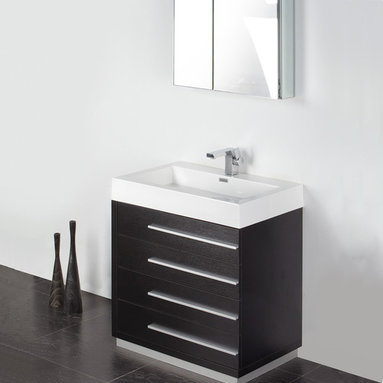 "Fresca - Fresca Livello 30"" Black Modern Bathroom Vanity W /Faucet & Medicine Cabinet - At a width of 29"" and a height of 33.5"", the Fresca Livello bathroom vanity is perfect for smaller spaces. With a minimalistic and contemporary design, this vanity will make your bathroom feel like a modern oasis."