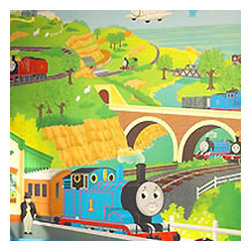 York Wallcoverings - Thomas Tank Train Engine Prepasted Wallpaper Mural - FEATURES: