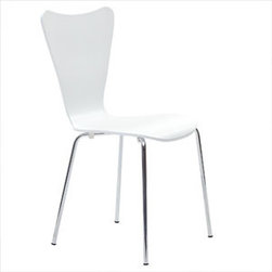 "LexMod - Ernie Dining Side Chair in White - Ernie Dining Side Chair in White - Minimalist in nature though it may be, this seat doesn't skimp on comfort. Its seemingly rigid design, flexes to the contours of the human body, making it a great side chair for homes and businesses alike. Set Includes: One - Ernie Chair Solid Plywood Seat, Stackable, Chrome Legs Overall Product Dimensions: 19.5""L x 17""W x 34""H Seat Dimensions: 16""L x 18""H - Mid Century Modern Furniture."