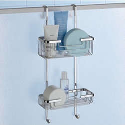 Gedy - Over-the-Door Double Shower Basket -13 - Contemporary style suspensible square wire double tier shower basket. Height-adjustable basket(s) made out of stainless steel and brass with a polished chrome finish. Two tier square bath shower caddy hangs over door or shower. Made in Italy by Gedy. Wire double tier shower organizer. Contemporary style. Height-adjustable shelves. Made out of stainless steel and brass. Polished chrome finish. Caddy hangs over the door or shower. From the Gedy Wire Collection.