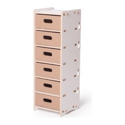 Sprout - 6 Drawer Organizer, White, White - Featuring six vertically stacked slots, this organizer is ideal for storing crayons, markers, and other arts and crafts supplies. Requires no tools, no hardware, and is simple to assemble. Patent pending Tension Lock Technology uses the natural properties of wood to create a sturdy durable joint that can be assembled and disassembled repeatedly.