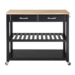 Crosley Furniture - Natural Wood Top Kitchen Cart in Black Finish - Solid wood top. Hand rubbed and multi-step finish. Raised panel drawer front. Brushed nickel hardware. Adjustable and removable shelf. Towel bar. Heavy duty caster for mobility. Warranty: 90 days. Made from solid hardwood and veneers. Black and natural finish. 42 in. W x 18 in. D x 36 in. H (70 lbs.). Assembly instructions - Kitchen cart/ IslandThis mobile kitchen cart is designed for longevity. The handsome raised panel drawer fronts provide the ultimate in style to dress up any culinary space. Two deep drawers are great for holding essential items, such as utensils or storage containers. Remove the shelf completely to allow for storing larger objects. When the cabinet is where you want it, simply engage the locking casters to prevent movement. Style, function, and quality make this mobile solution a wise addition to your home.