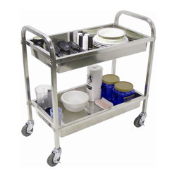 Luxor Furniture - 19 in. Stainless Steel Tub Cart in Stainless - Two tub stainless steel transport cart. Top and bottom tubs are 4 in. deep. 17 in. shelf clearance. Four 4 in. locking casters. Assembly required. 19 in. d x 35.5 in. W x 35.5 in. H (33 lbs.)