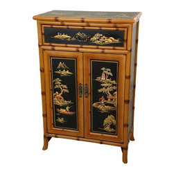 "Oriental Furniture - 36"" Ching Shoe Cabinet - This imported Oriental shoe cabinet was lovingly handmade in an artisan's collective in Guangdong.  The edges have been carved and lacquered in a subtle bamboo pattern, while the sides, front, and top are finished in a rich, black lacquer.  These black panels have been individually hand painted with traditional Chinese landscapes, and each cabinet is a truly unique piece unlike any other."