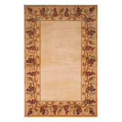 KAS - Emerald Grapes Border 9058 Ivory Rug by Kas, 2 Ft 6 in X 4 Ft 6 in - Available in many floral/transitional patterns and color ways, the Emerald Collection from Kas provides superior quality at an affordable price point. Each rugs is handmade with the finest wool and uses simply dynamic coloration to transform each rug into something truly unique. Offered in a variety of patterns and color schemes, there's sure to be something for everyone.